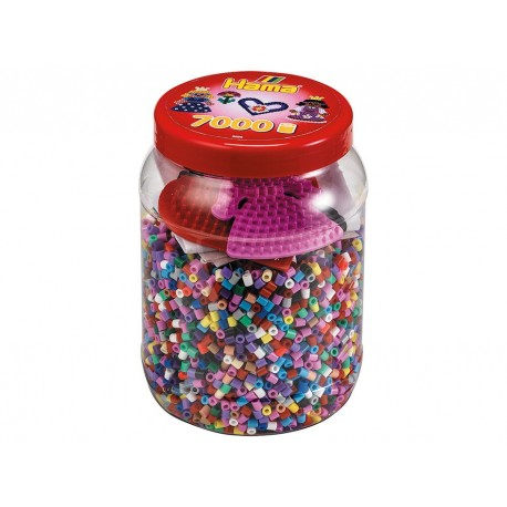 Perler i rosa nuancer + plader - 7000 stk. midi - Hama