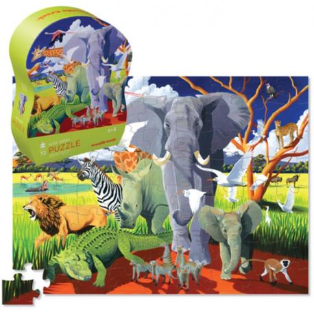 Safari - Puslespil & plakat - 100 brikker - Crocodile Creek