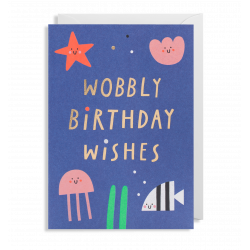 Wobbly Birthday Wishes - Kort & kuvert - Lagom