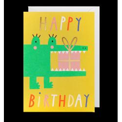 Krokodille med gave - Kort & kuvert - Lagom