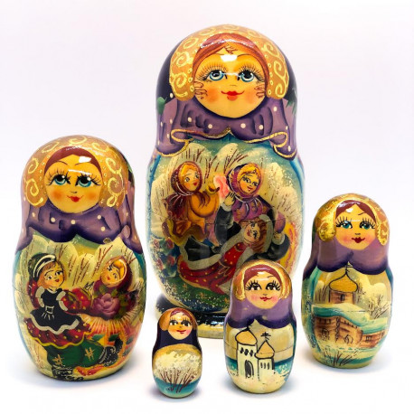 5 stk. Babushka dukker - Vintertema Lilla & Guld