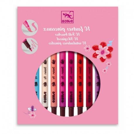 10 pink nuancer - 10 tuscher med dobbelt-tip - Djeco
