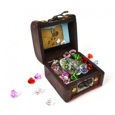 Skattekiste med juveler, stofpose & kort